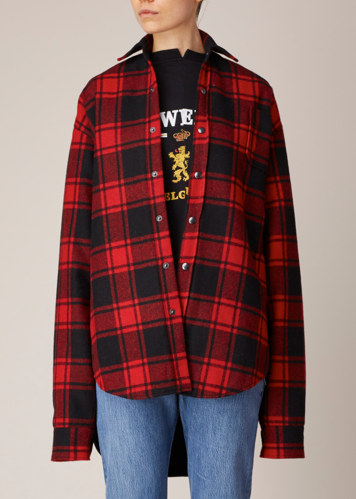 Lyst vetements black red plaid shirt in red for Dark red plaid shirt