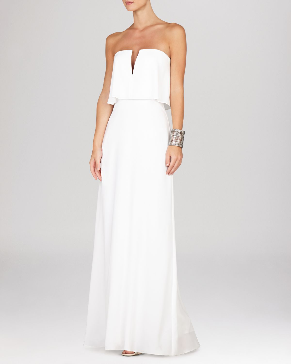 42520a18475 BCBGMAXAZRIA Gown - Alyse Strapless Notched Blouson in White - Lyst