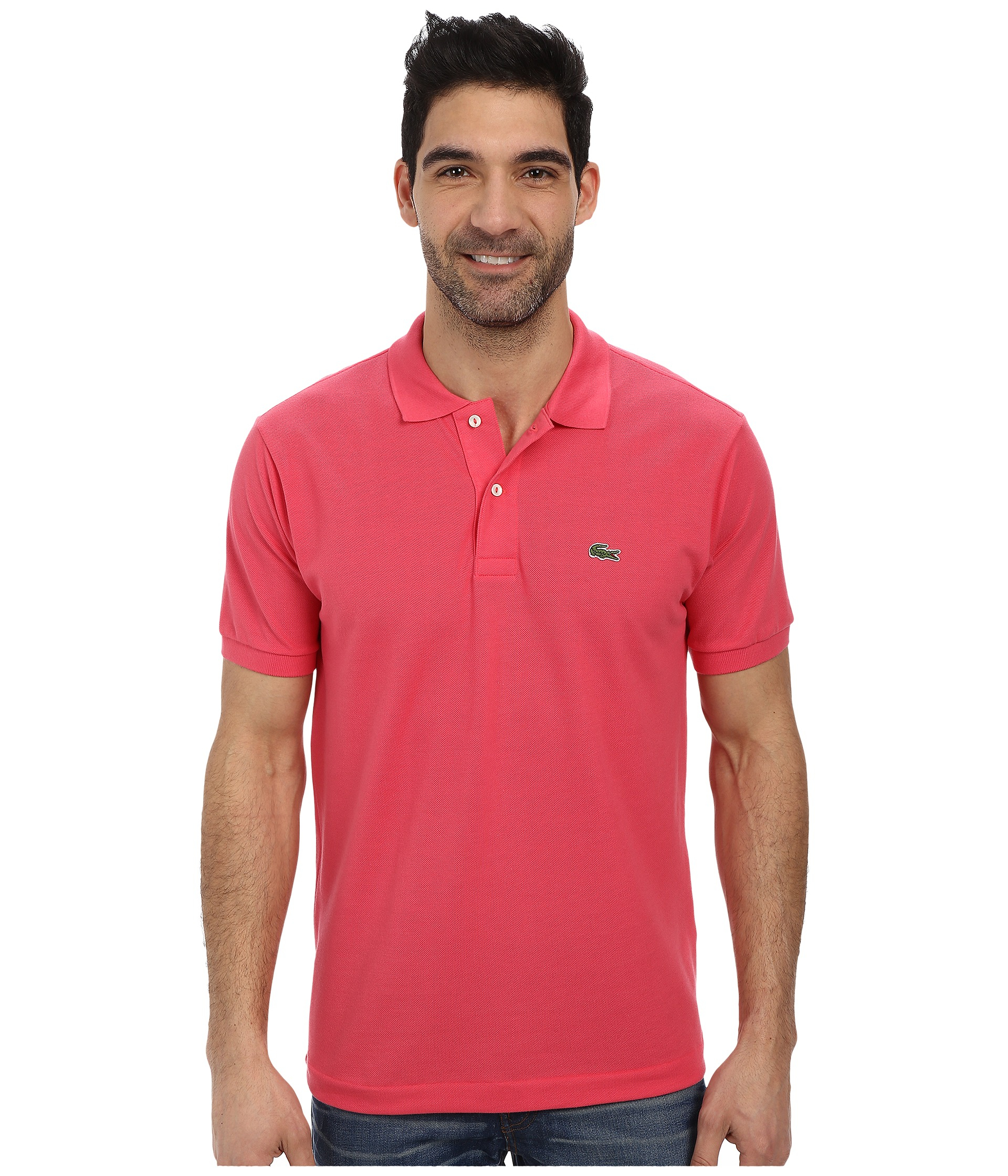 Lyst lacoste l1212 classic pique polo shirt in pink for men for Discount lacoste mens polo shirts