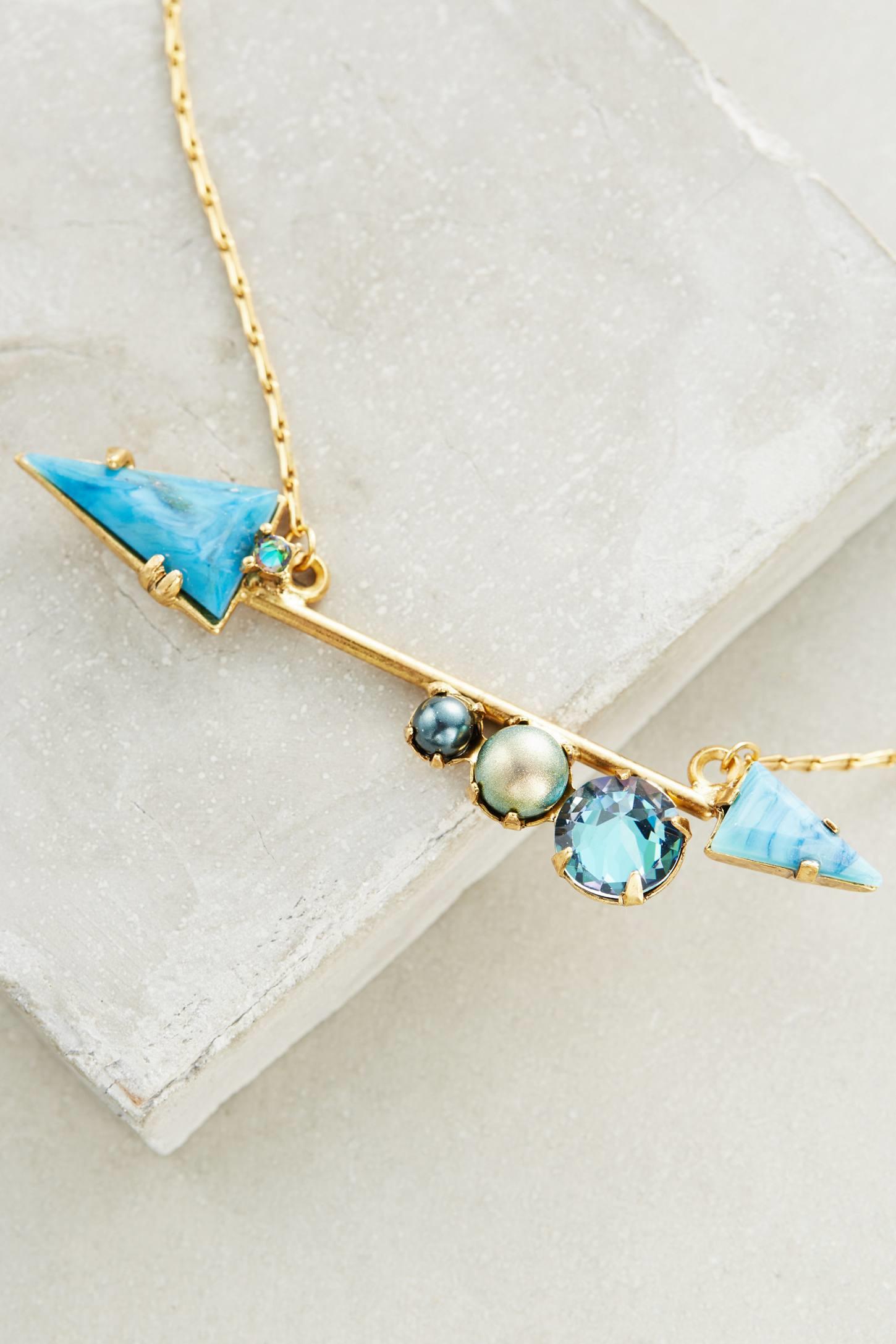 elizabeth cole bristol arrow necklace in blue lyst