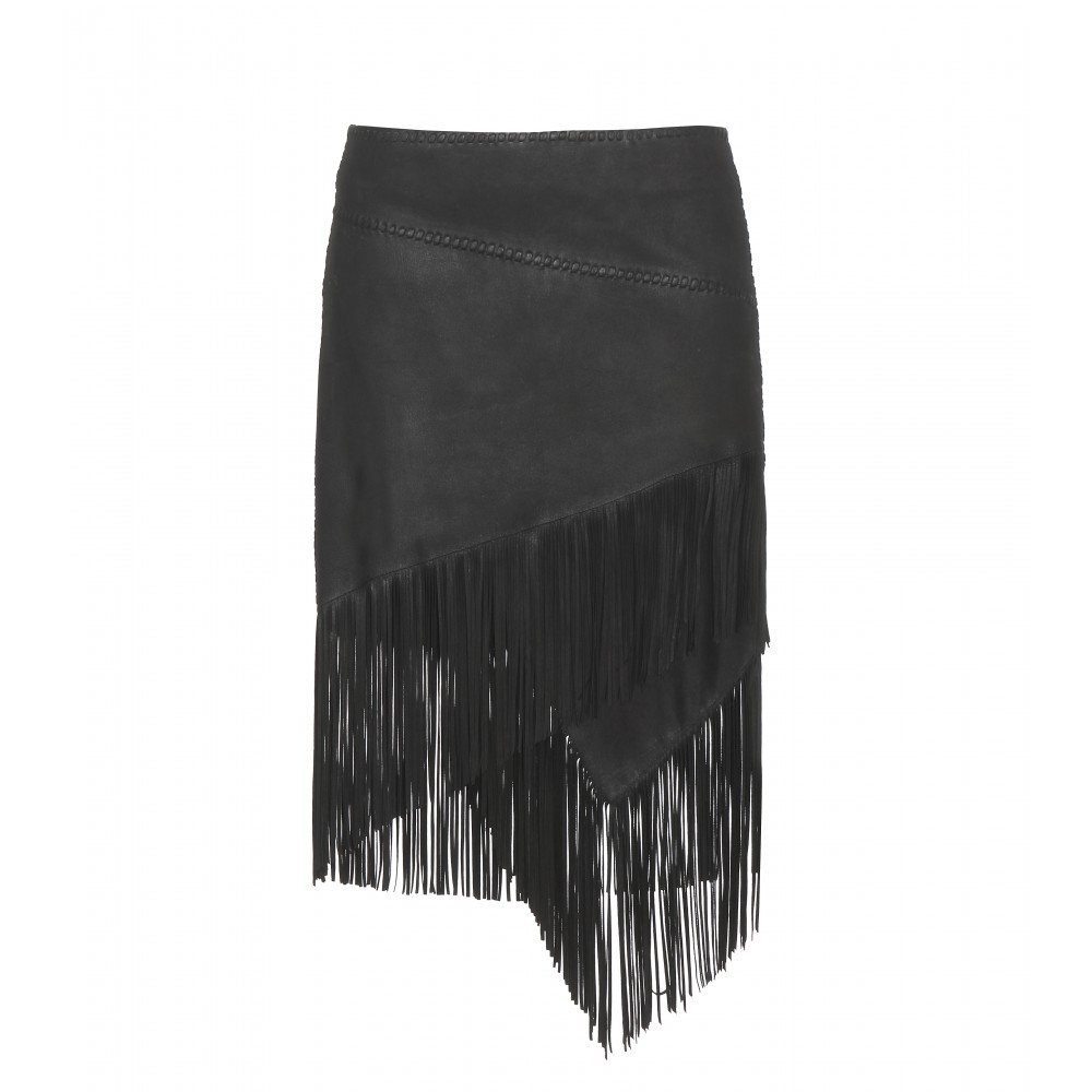 polo ralph lara fringed leather skirt in black lyst