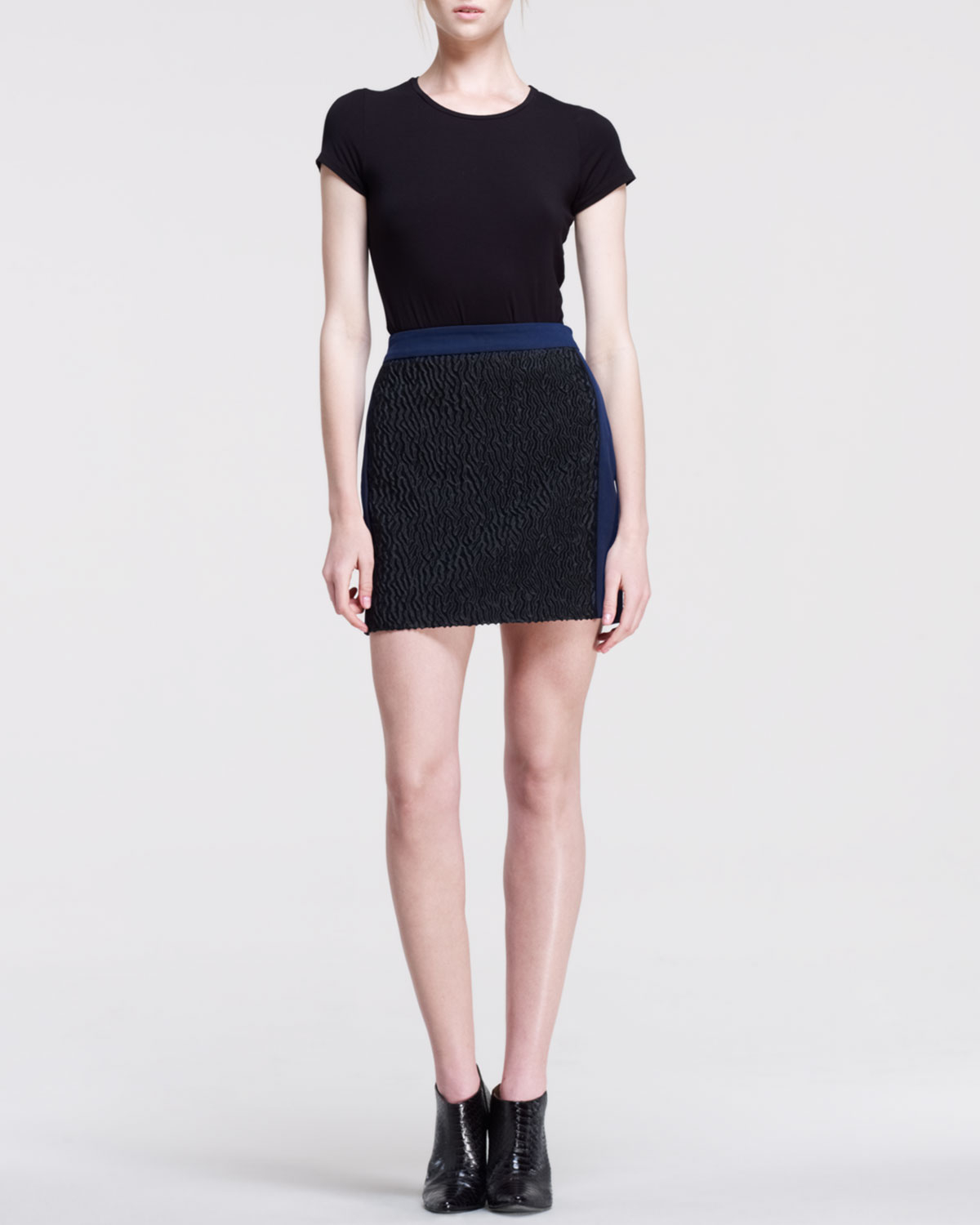 Opening ceremony crave mix fabric skirt in blue lyst