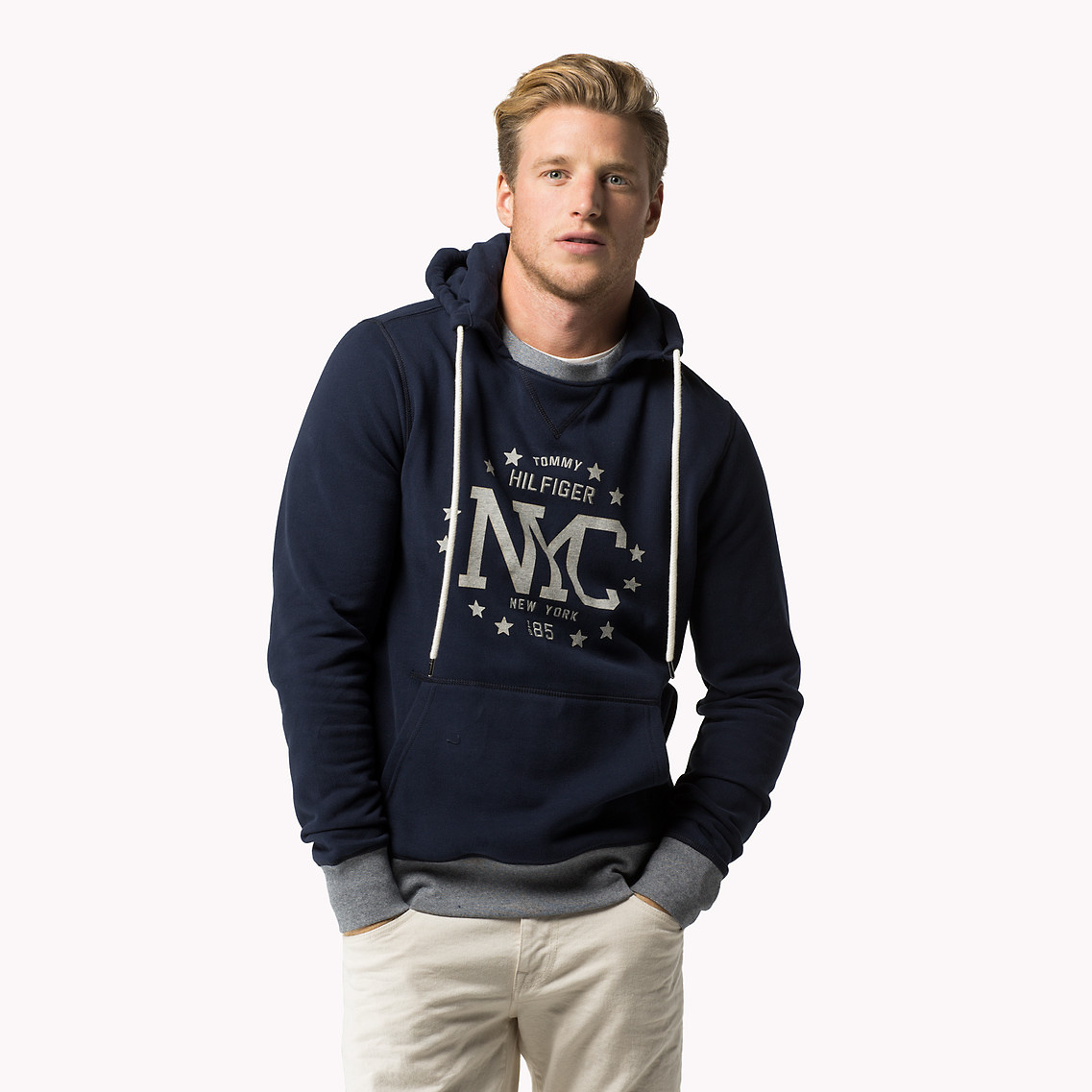 1a0206c71c240 Tommy Hilfiger Cotton Blend Hoody in Blue for Men - Lyst