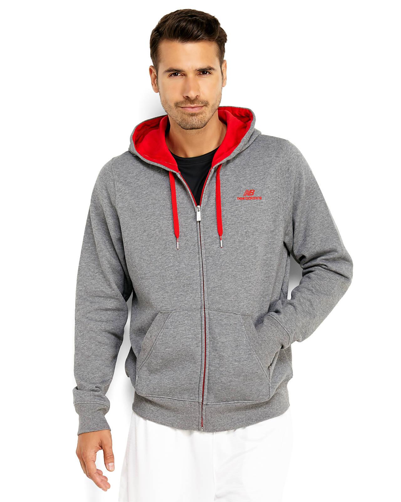 lyst new balance full zip hoodie in gray for men. Black Bedroom Furniture Sets. Home Design Ideas