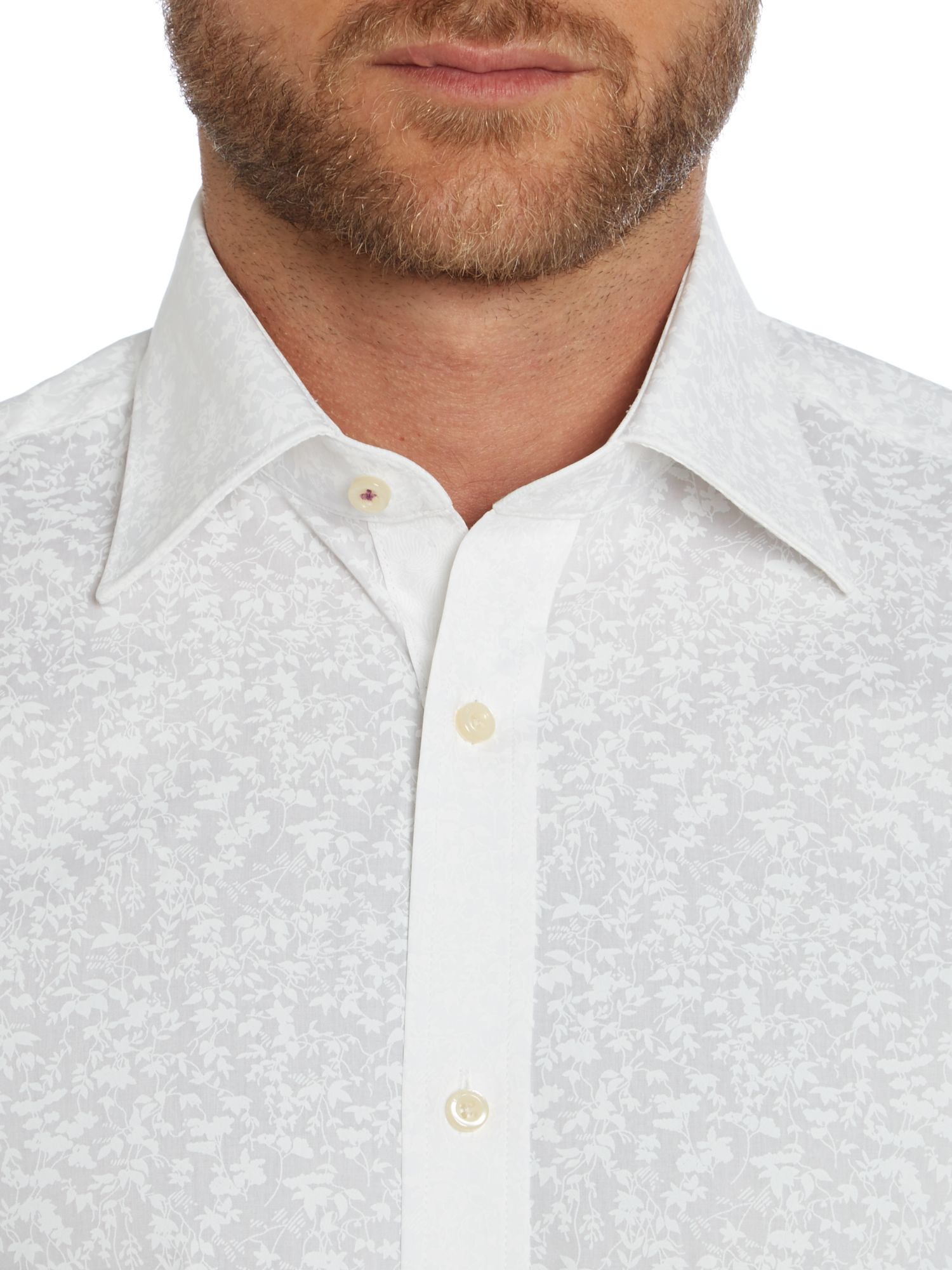 Ted baker flosho floral double cuff formal shirt in white for Ted baker floral shirt
