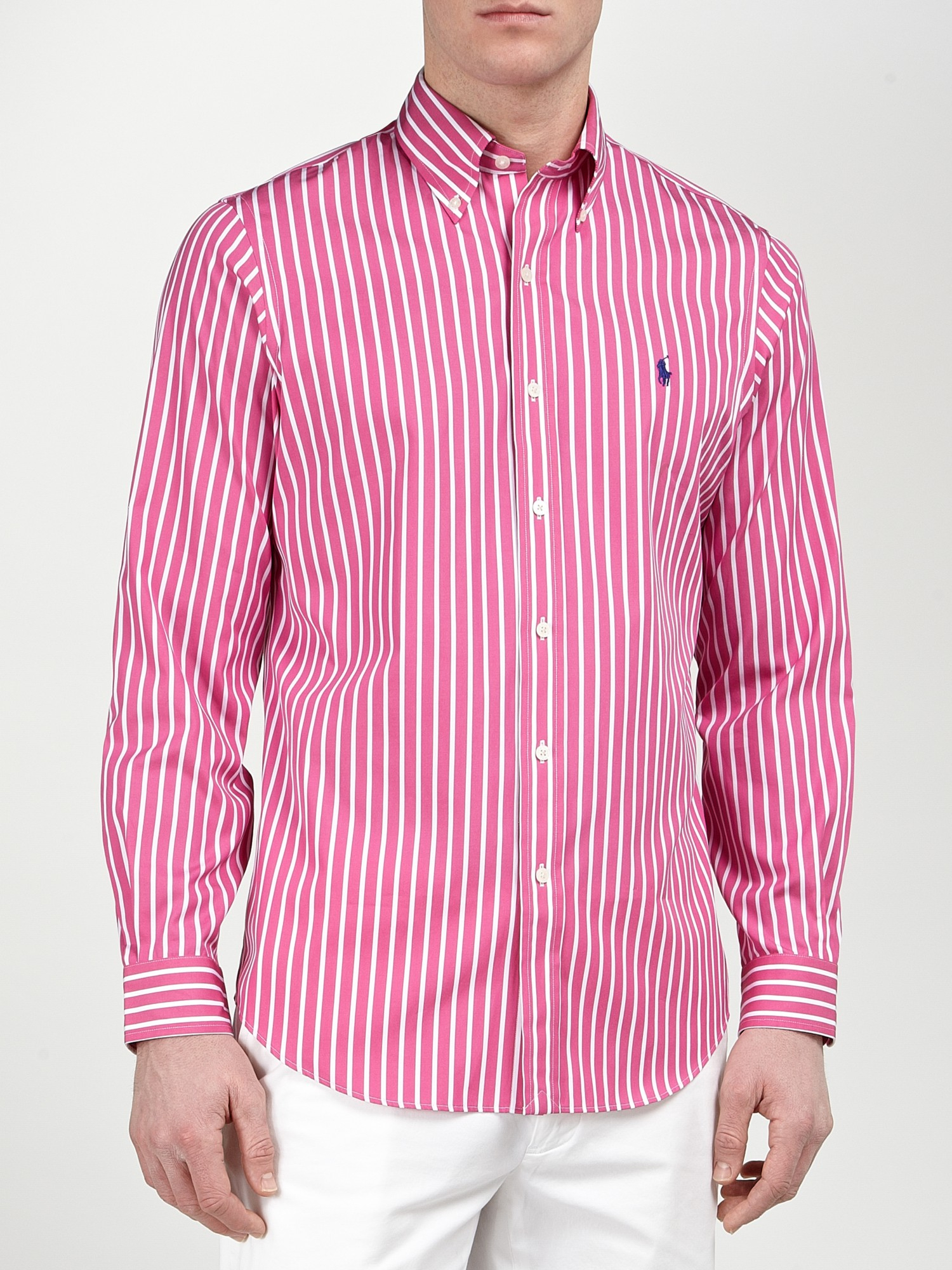 Polo ralph lauren Striped Poplin Shirt in Pink for Men | Lyst