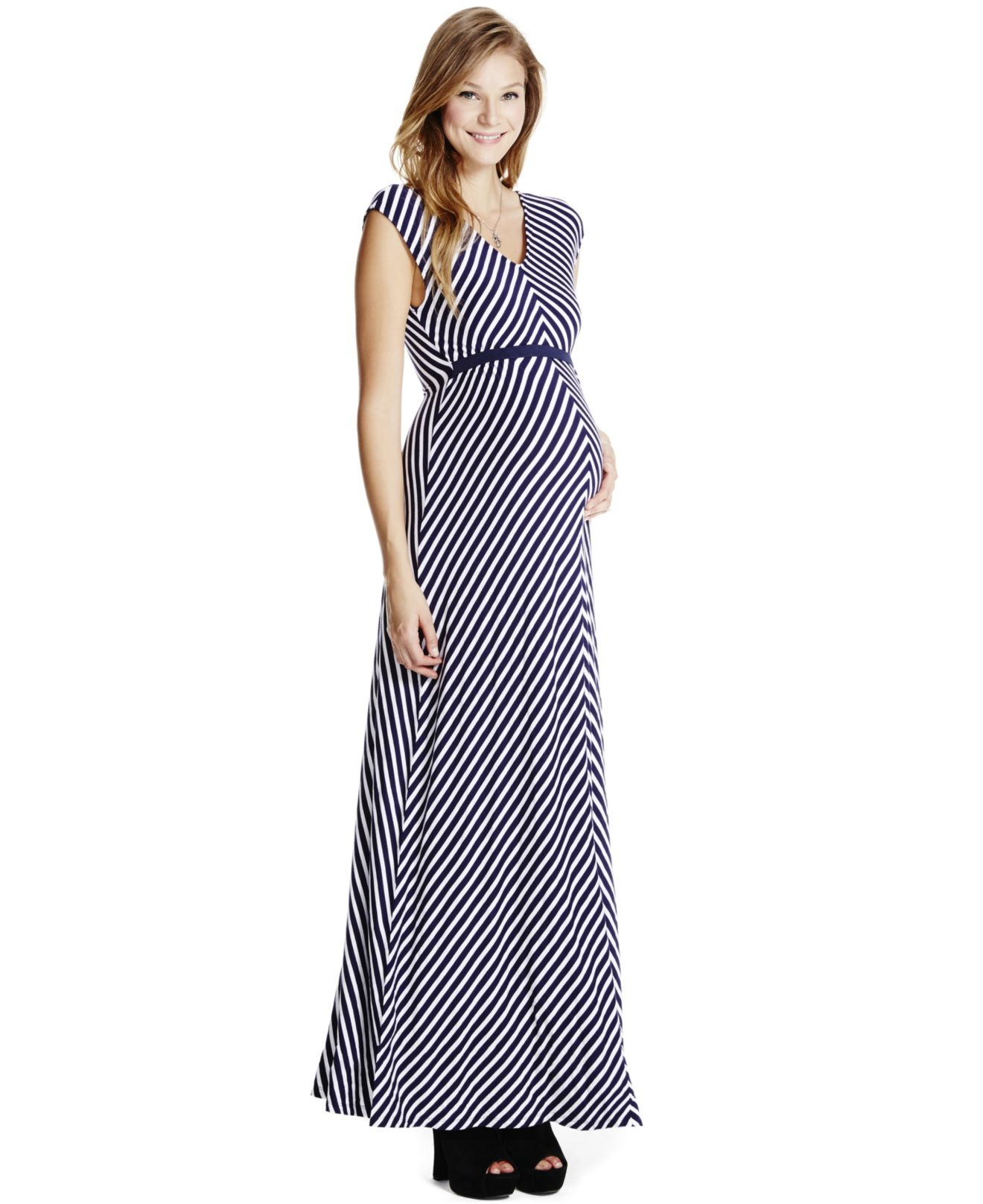 Jessica simpson Maternity Printed Maxi Dress in Blue  Lyst