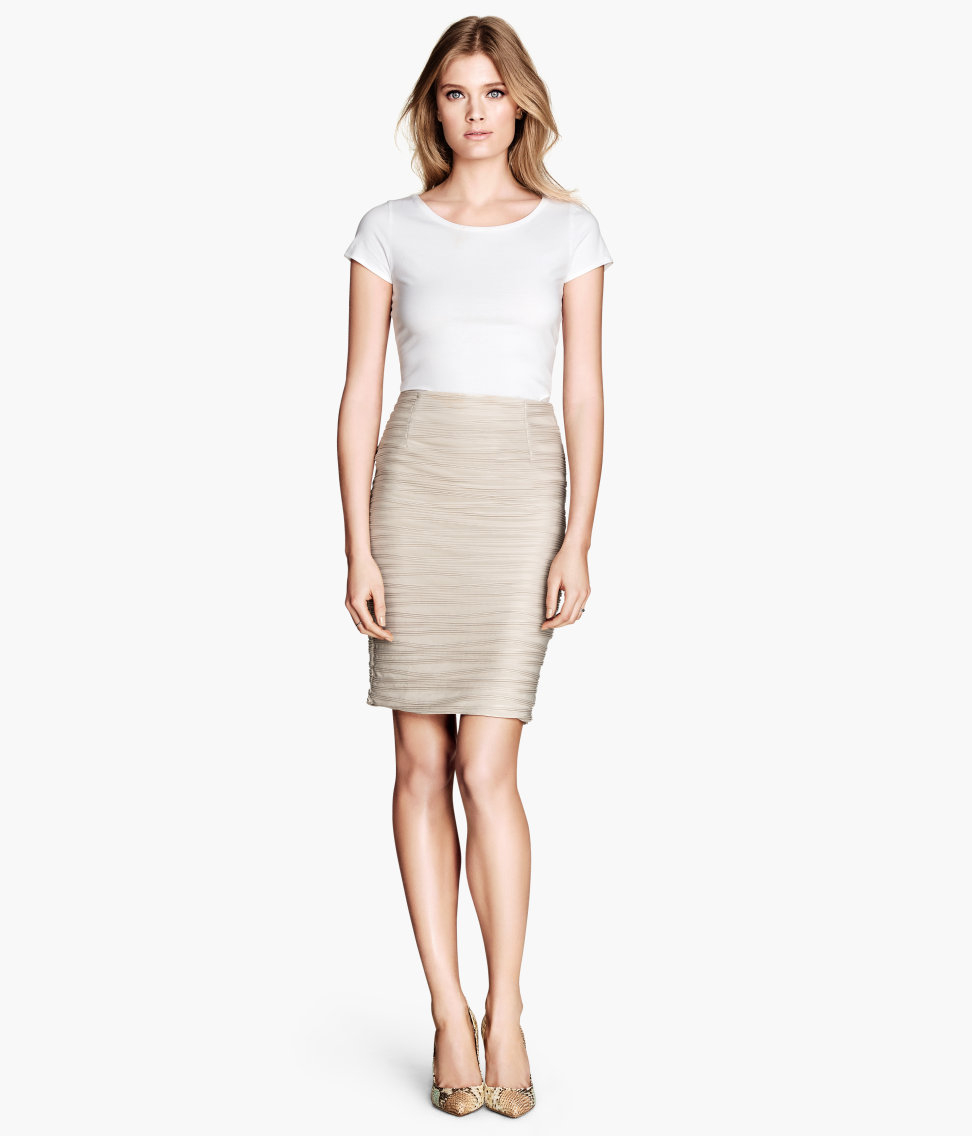 h m pencil skirt with pleats in lyst