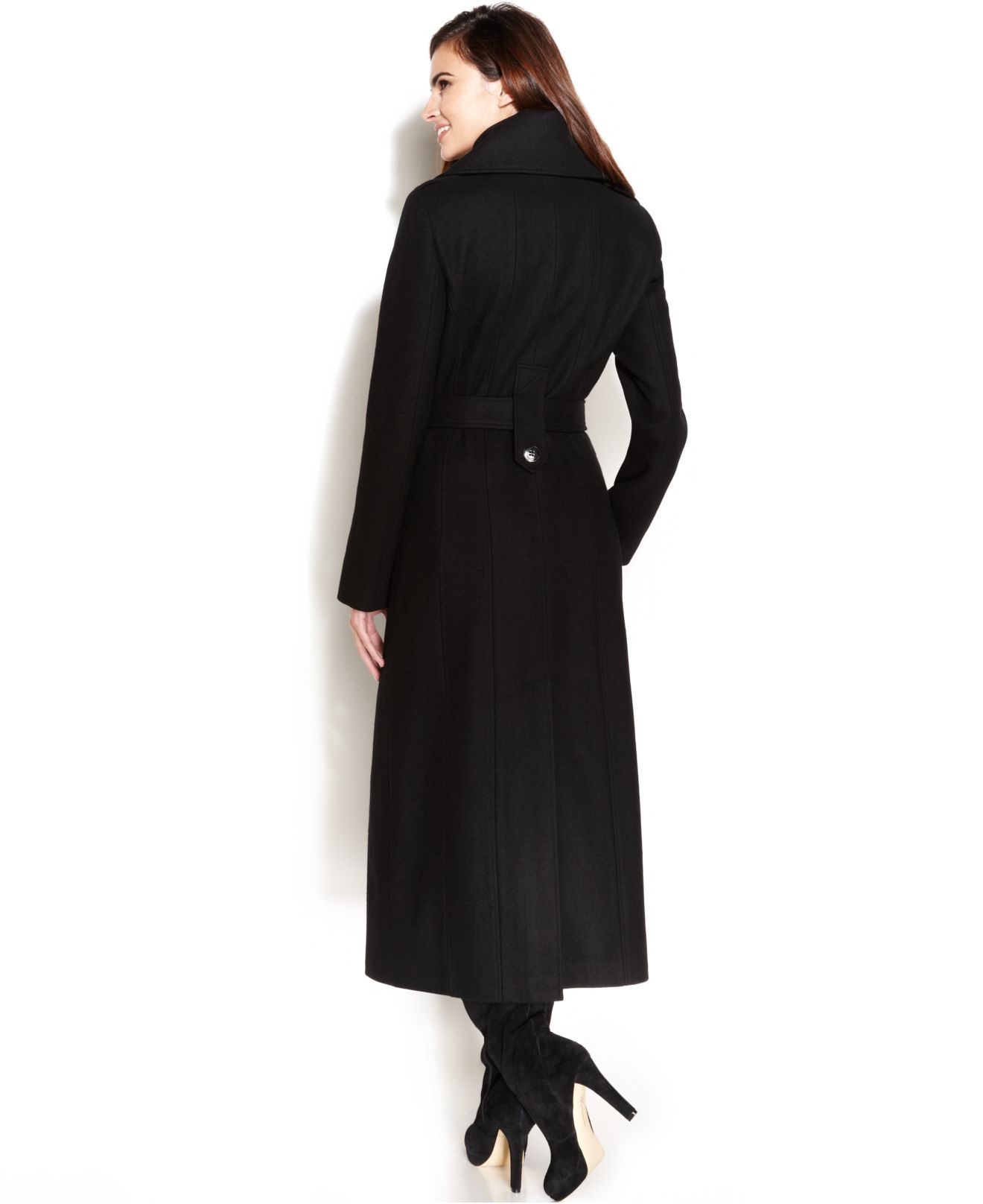 Calvin klein Wool-Blend Double-Breasted Belted Maxi Coat in Black ...