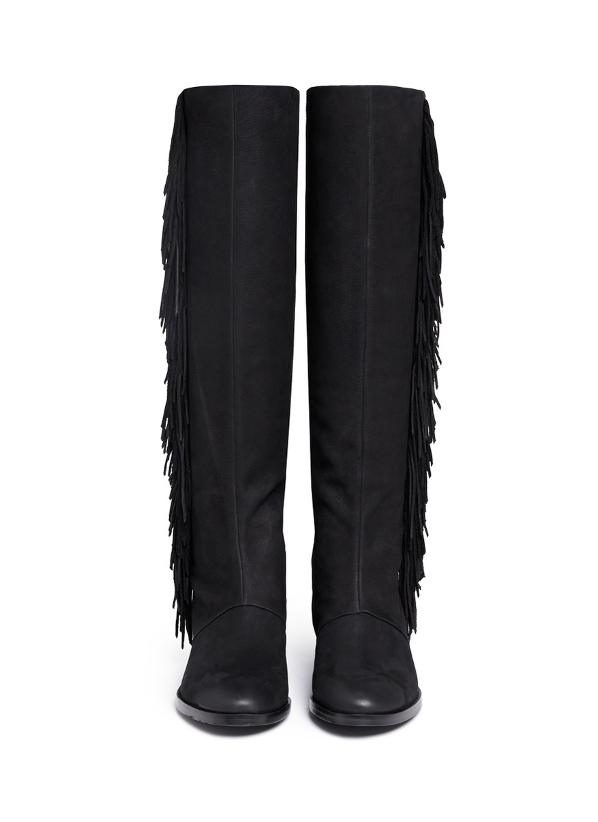 e53563139304e Lyst - Sam Edelman Josephine Fringed Leather Knee-High Boots in Black