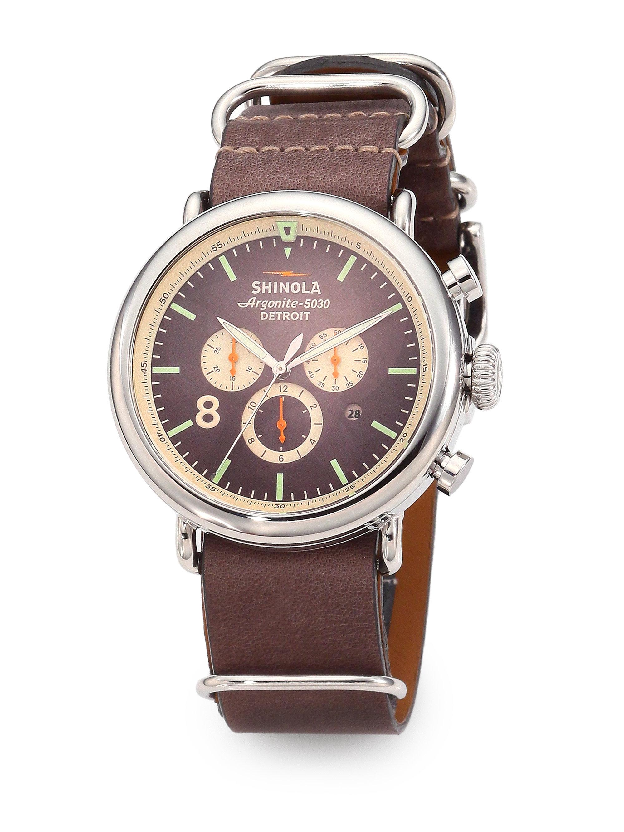 Shinola runwell contrast chronograph watch in brown lyst for Shinola watches