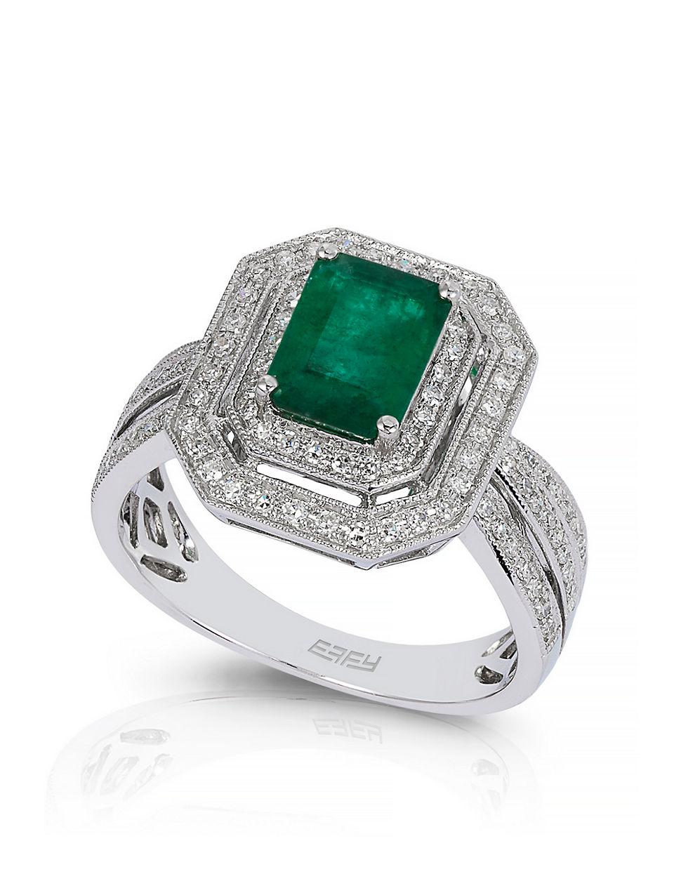 effy emerald 14k white gold ring in green lyst