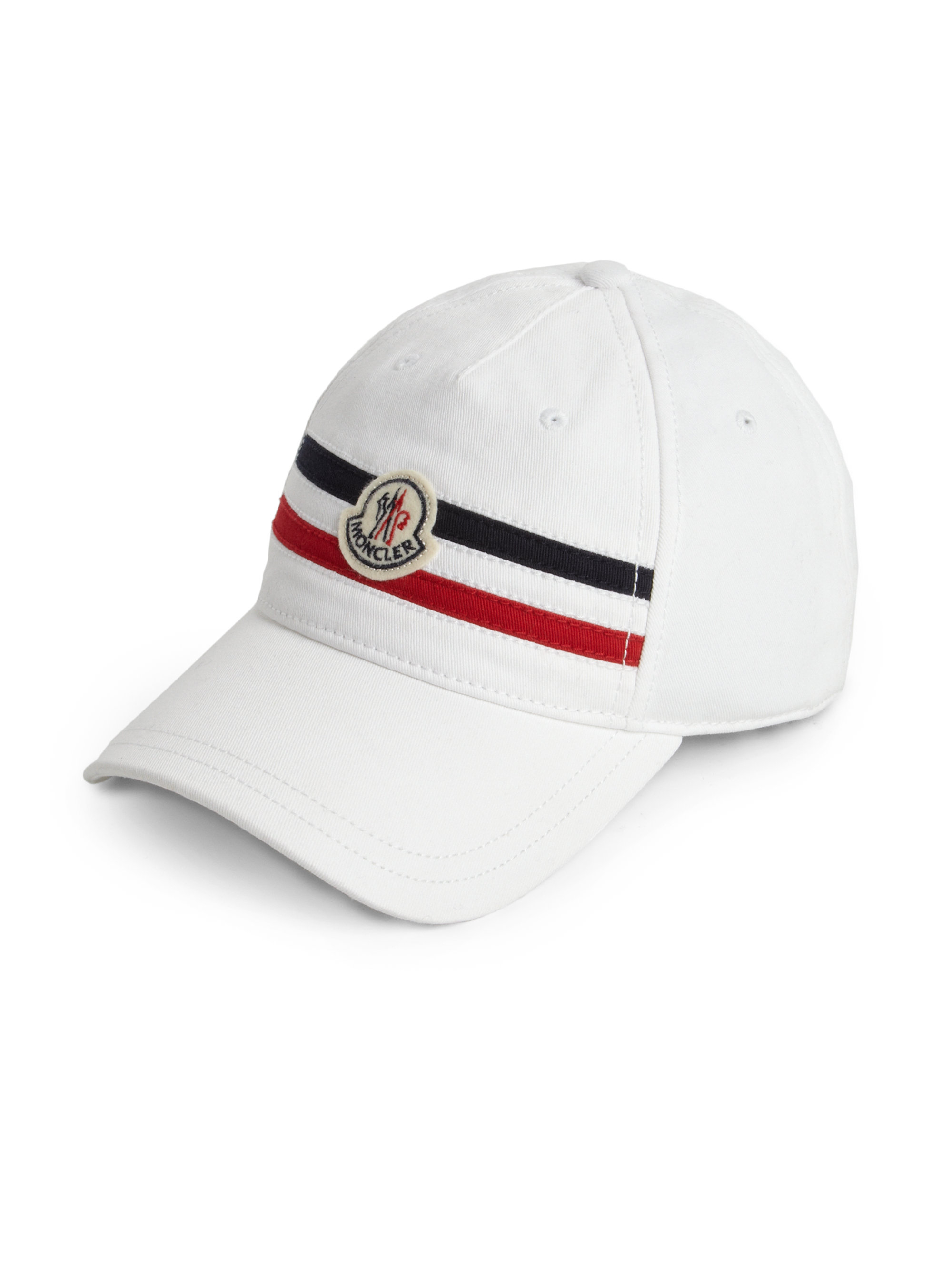 a2c492ed342 Lyst - Moncler Logo Striped Baseball Cap in White for Men