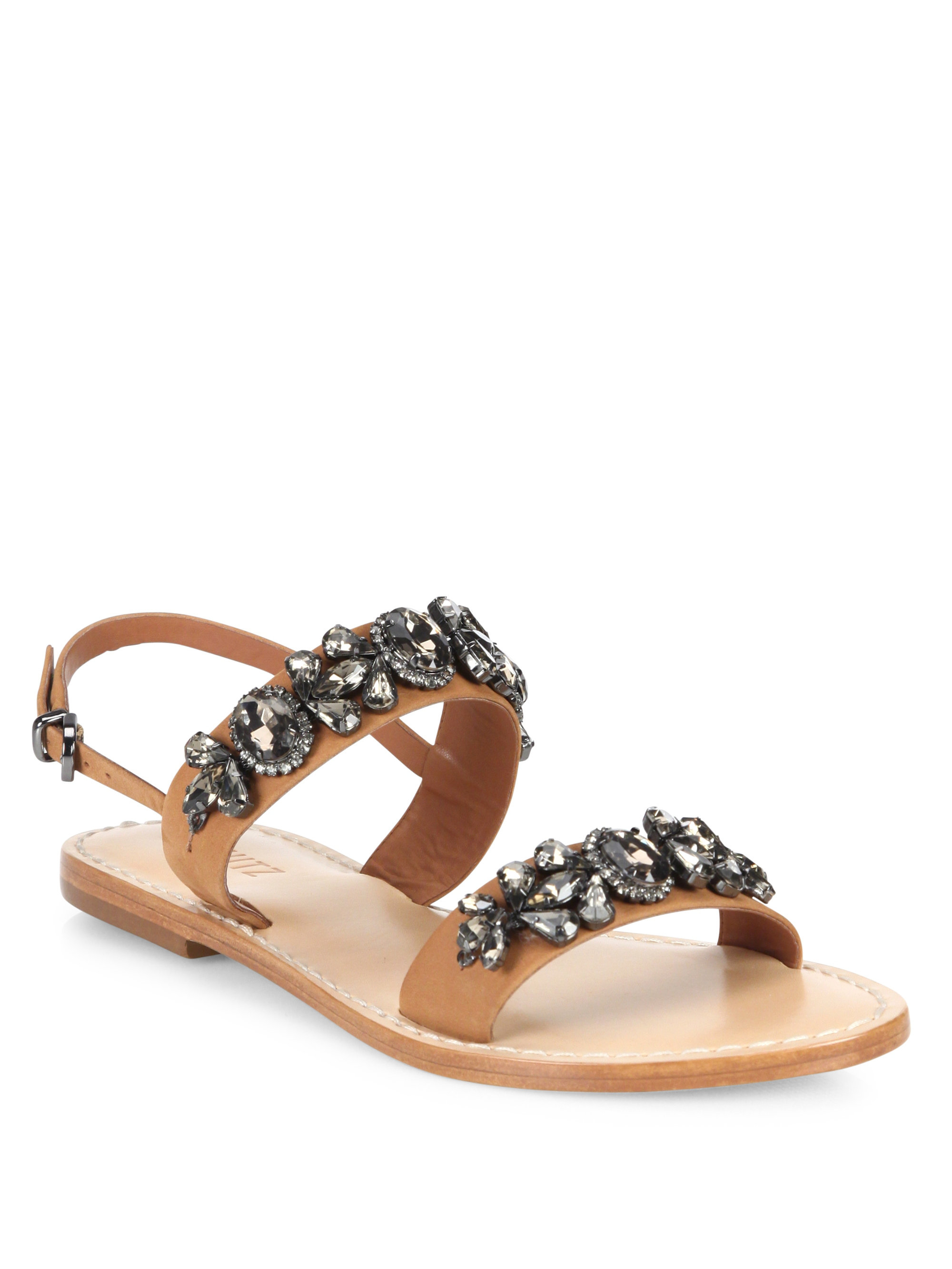 0ef8de325 Lyst - Schutz Mulada Jeweled Leather Band Sandals in Brown