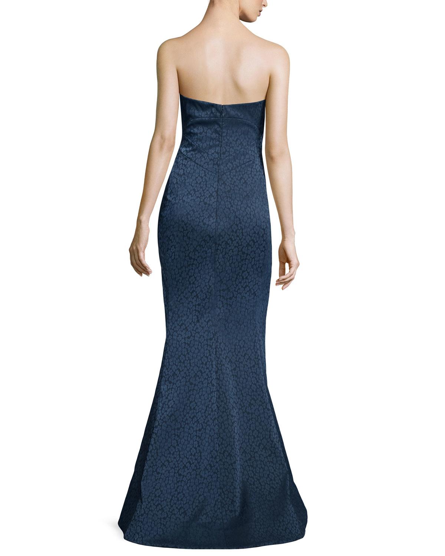 Lyst - Zac Posen Strapless Leopard-print Mermaid Gown in Blue b37ea3ce2
