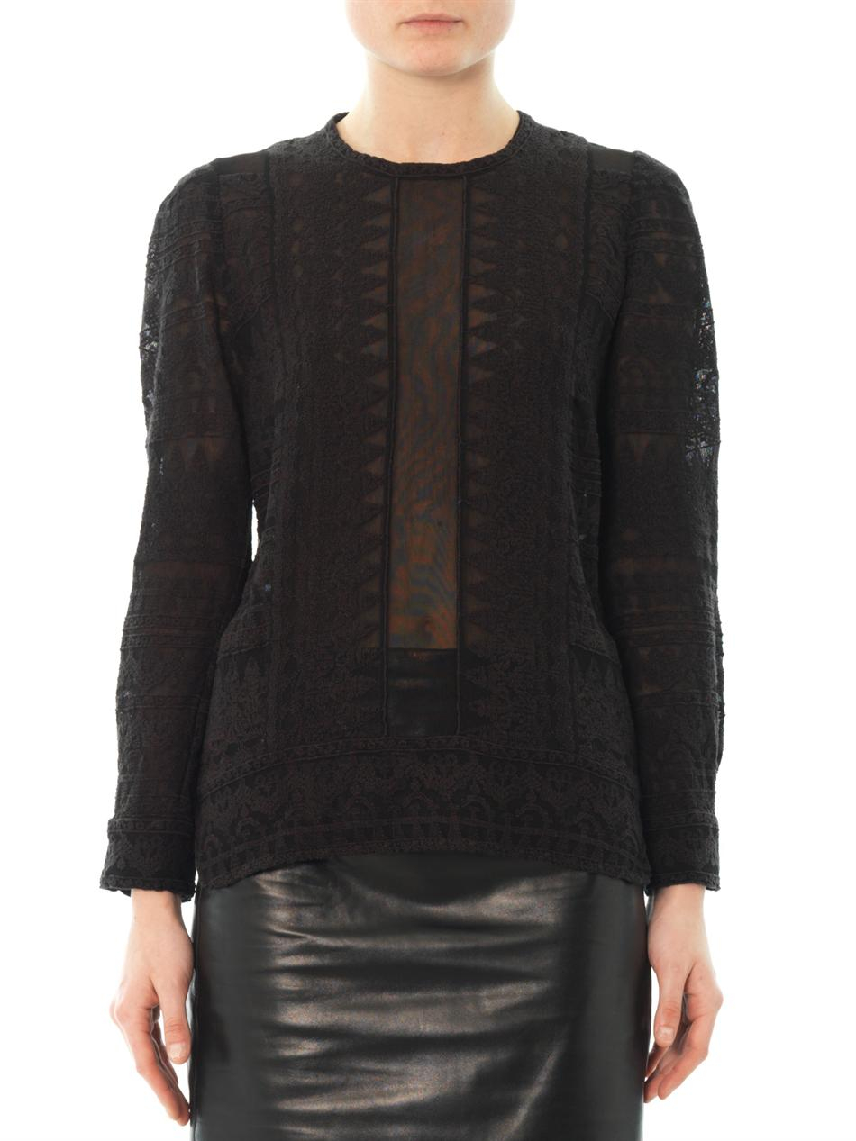 6135a3508f Isabel Marant Tess Embroidered Gauze Top in Black - Lyst