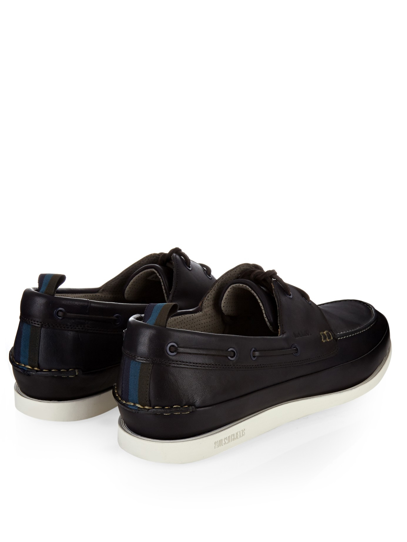paul smith branca leather deck shoes in blue for lyst