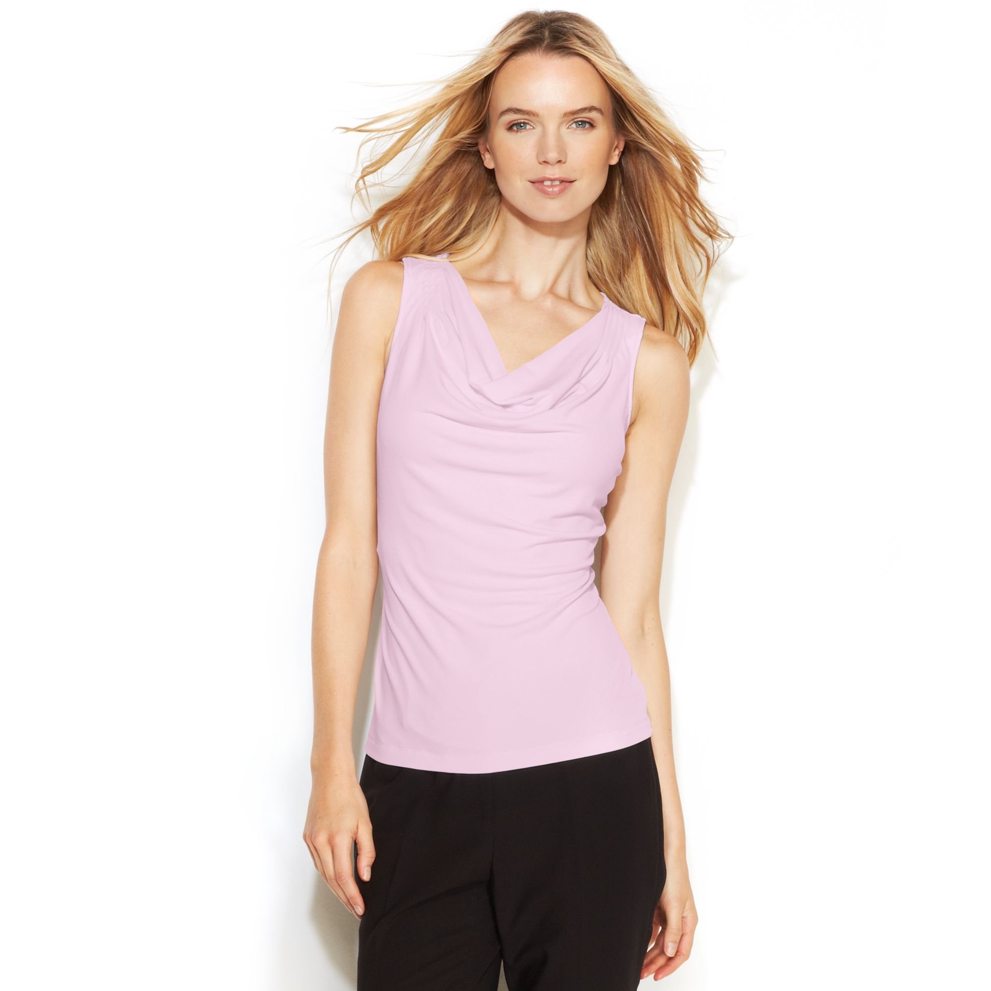 Calvin Klein Sleeveless Cowl Neck Top In Pink Lyst