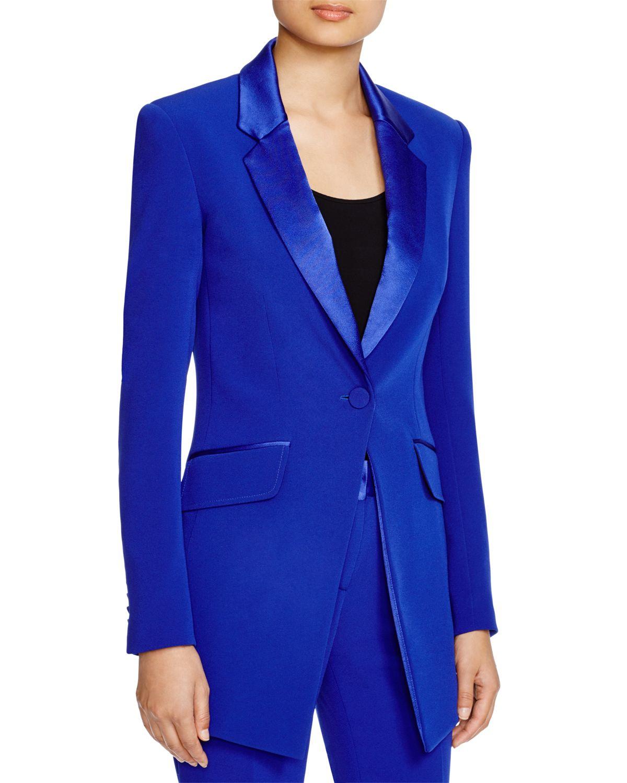 Lyst - Diane von Furstenberg Satin Trim Smoking Jacket in Blue f6ad255cde