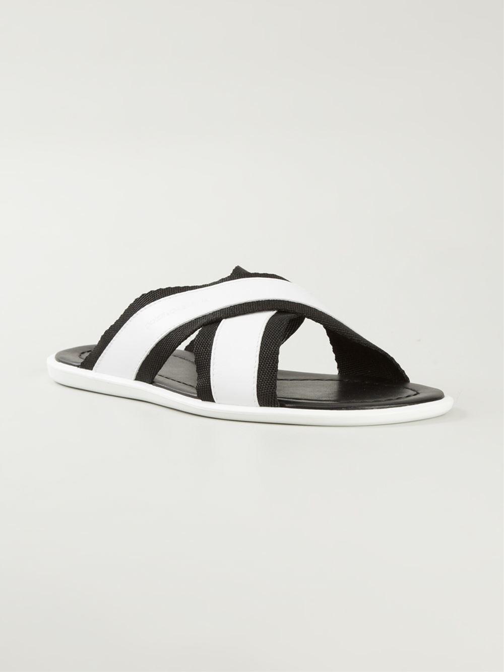 63866eb8342 Lyst - Dolce   Gabbana Cross-Over Strap Flip-Flops in White for Men