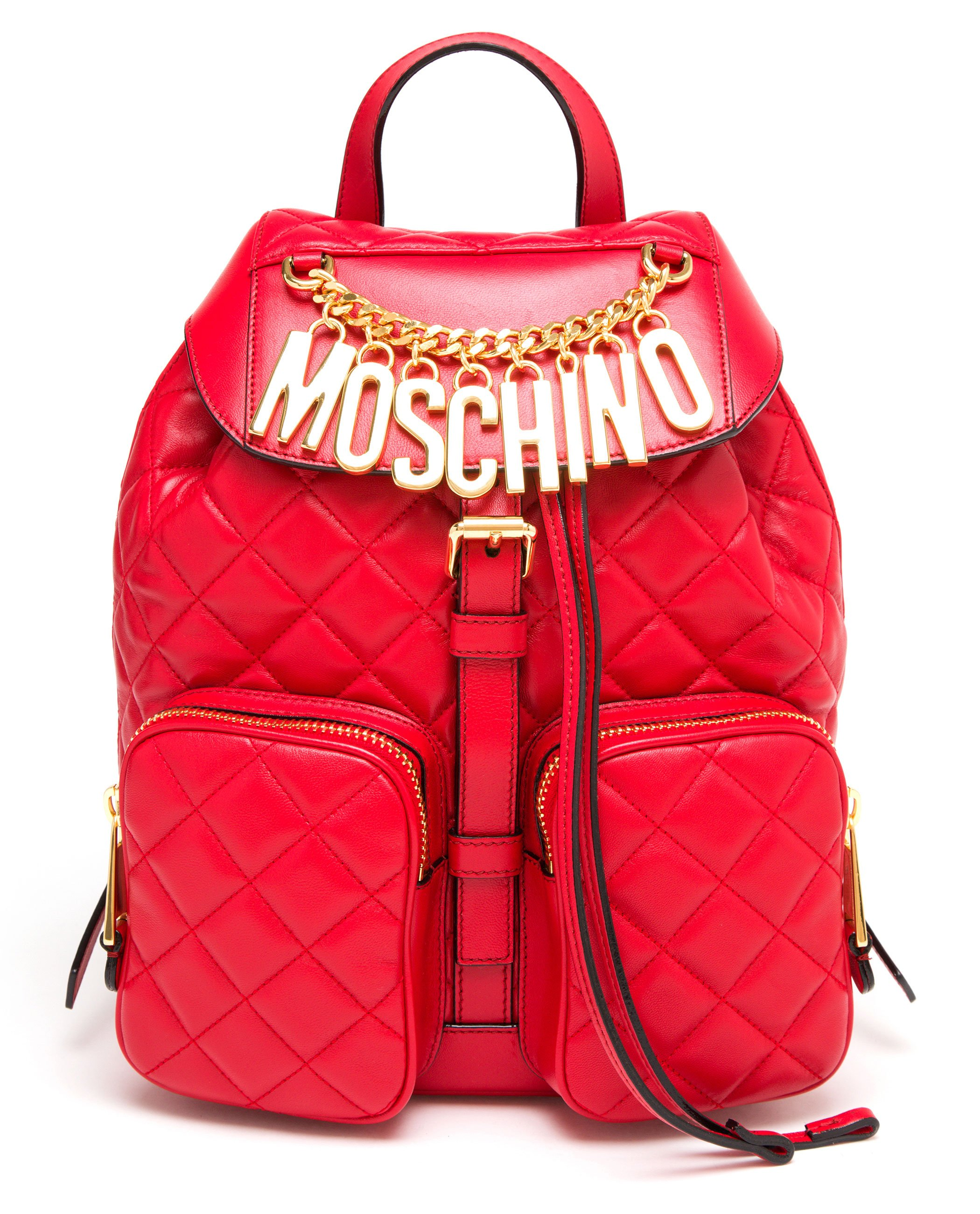 Moschino Red Leather Backpack in Red | Lyst