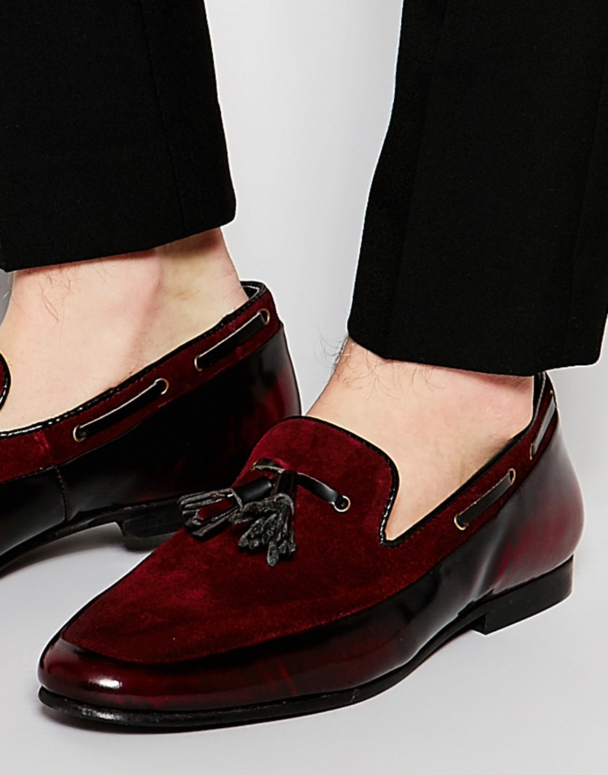 910f395c48a Lyst - ASOS Tassel Loafers In Burgundy Suede And Leather Mix in Red ...