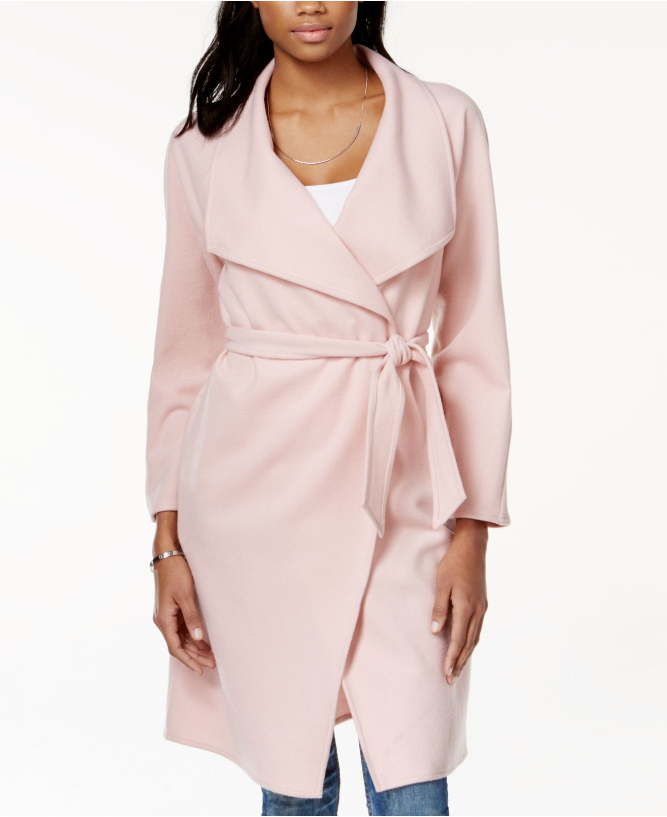 Guess Wool Wrap Coat in Pink | Lyst