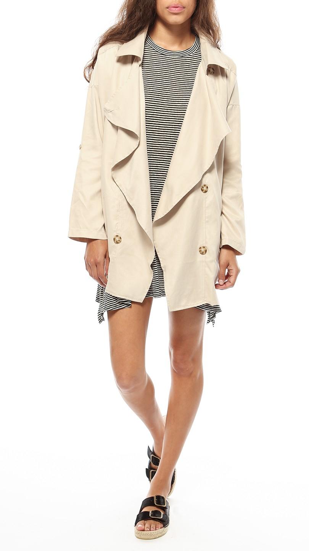 Azalea Uptown Drape Collar Jacket In Natural Lyst