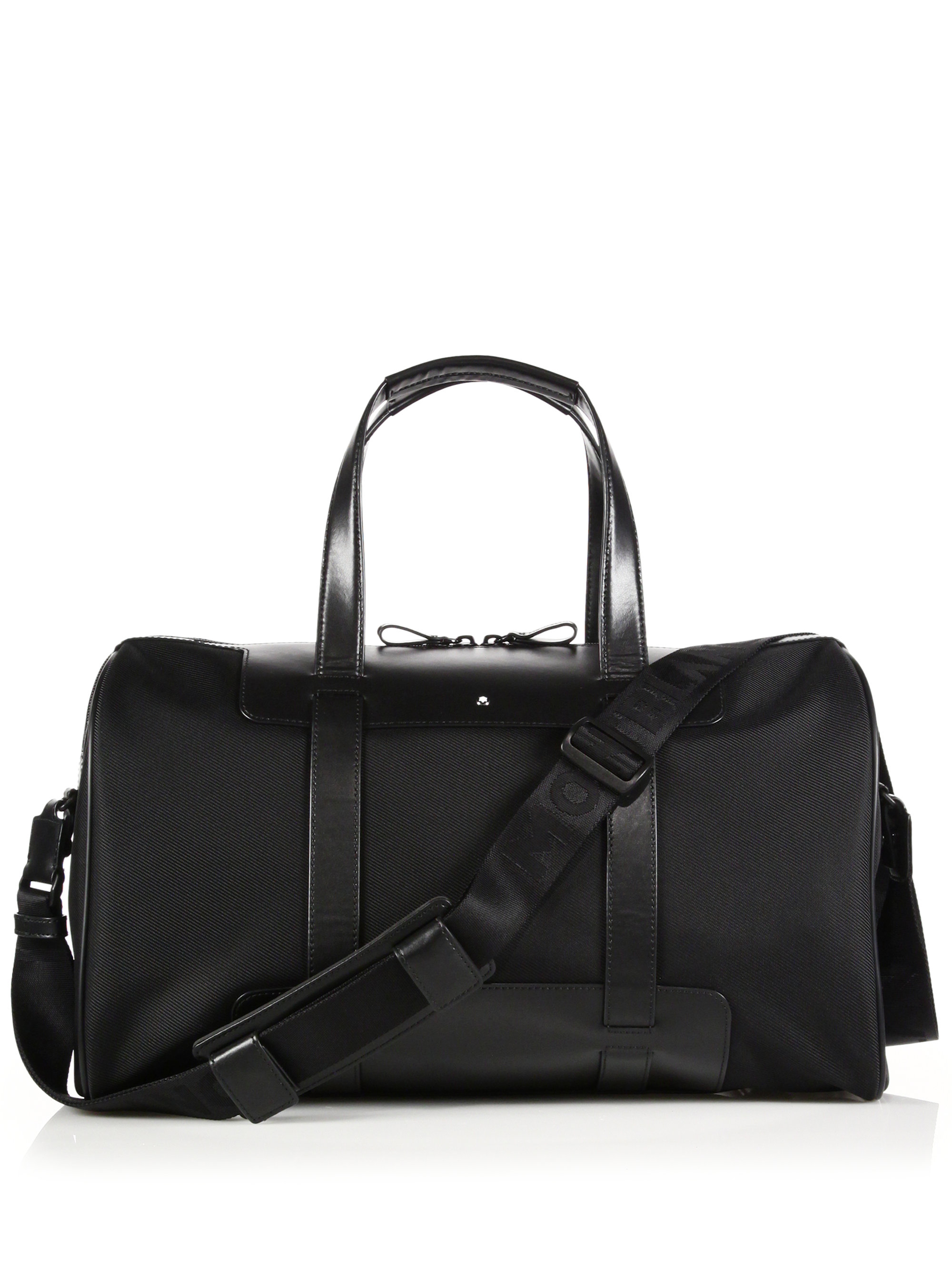 Montblanc Cabin Leather-trimmed Duffle Bag in Black for Men | Lyst