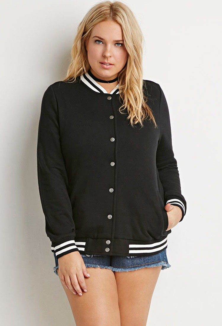 Forever 21 Plus Size Varsity-striped Baseball Jacket in Black | Lyst