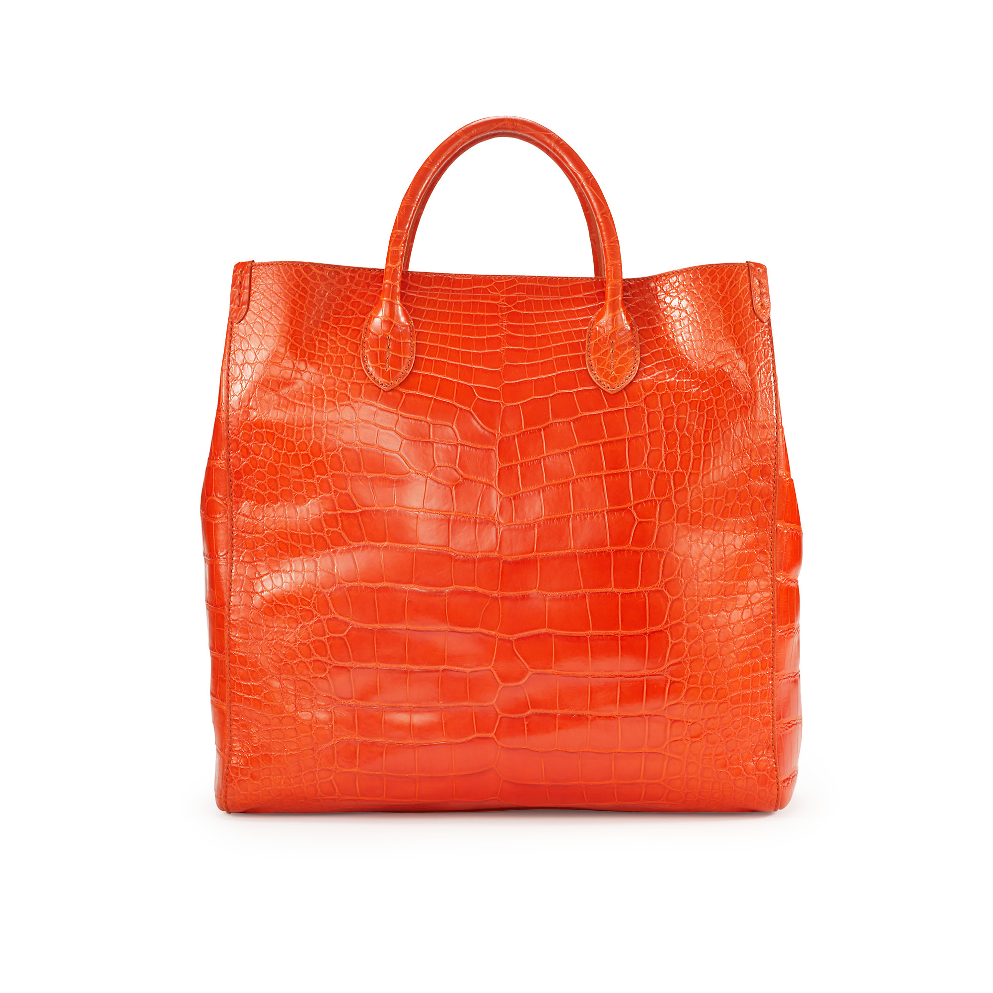 Ralph Lauren Tote Laukku : Pink pony alligator classic tote in orange lyst