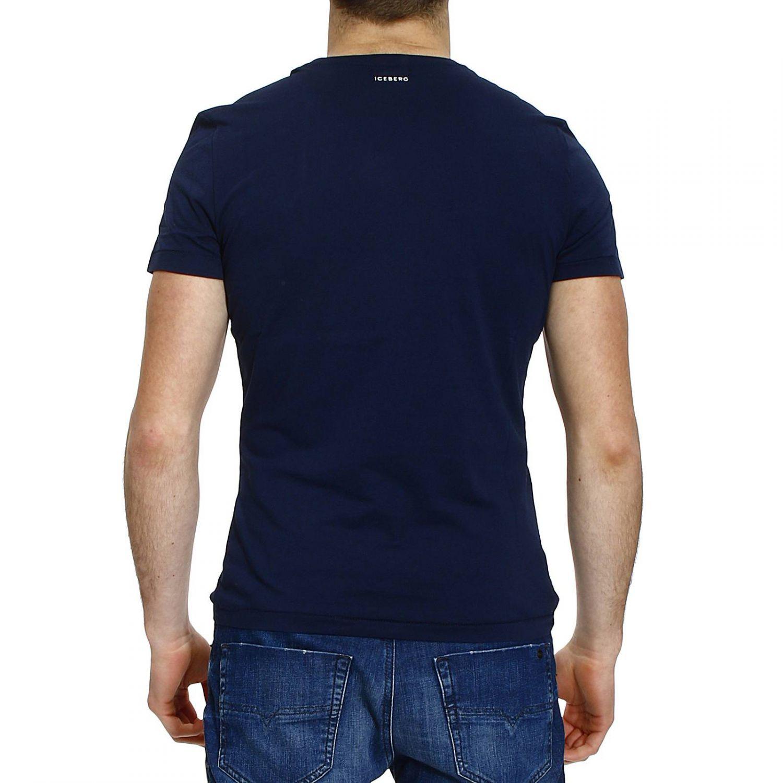 Iceberg t shirt half sleeve crew neck print mano in blue for Denim half sleeve shirt