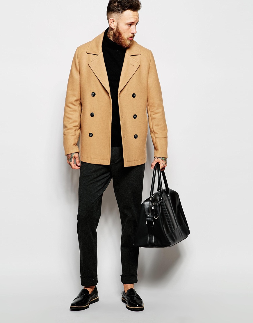 Asos Wool Peacoat In Camel in Natural for Men | Lyst