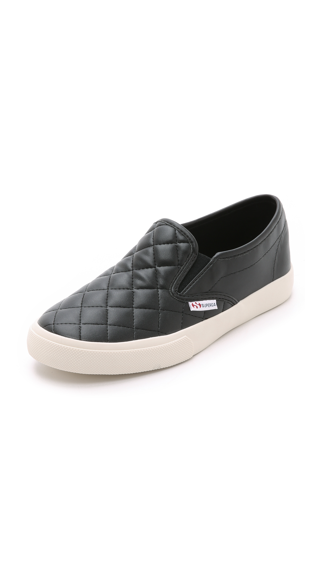 Lyst Superga 2311 Quilted Slip On Snakers Black In Black
