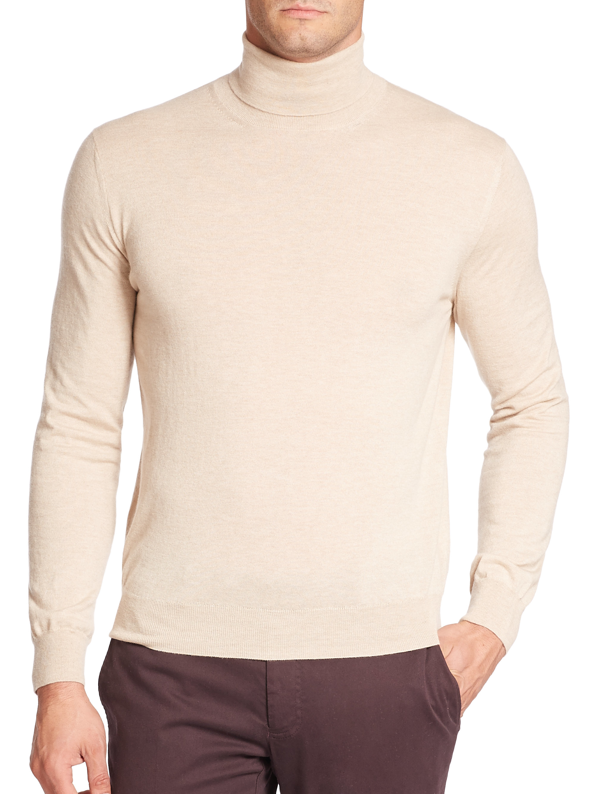 Canali Raw Edge Turtleneck Cashmere Sweater in Natural for Men | Lyst