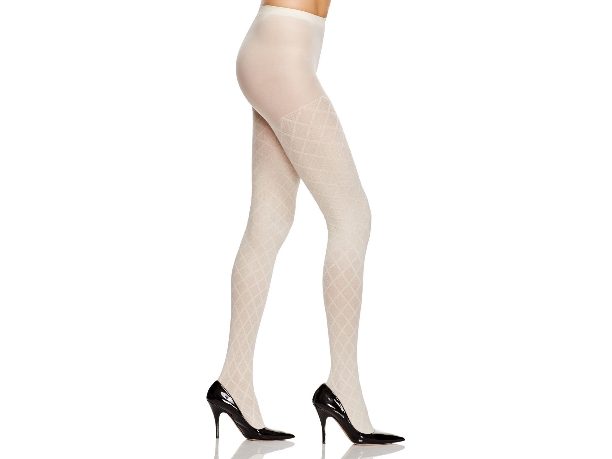 aa1a4e15d56 Hue Diamond Texture Control Top Tights in White - Lyst
