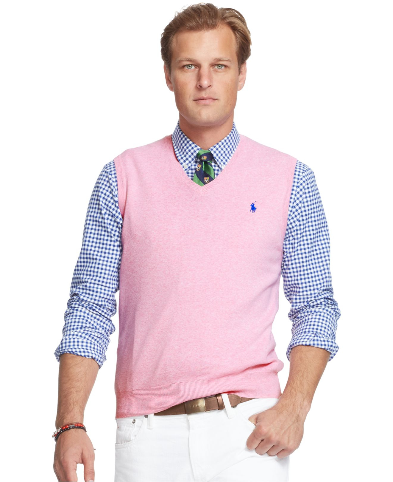 Polo ralph lauren Men's Big And Tall Pima V-neck Vest in Pink for ...