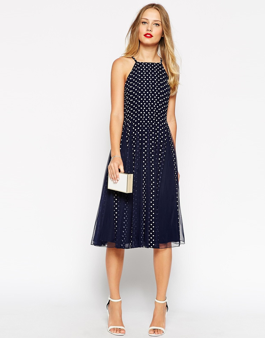 Lyst Asos Spot Mesh Fit And Flare Dress In Blue
