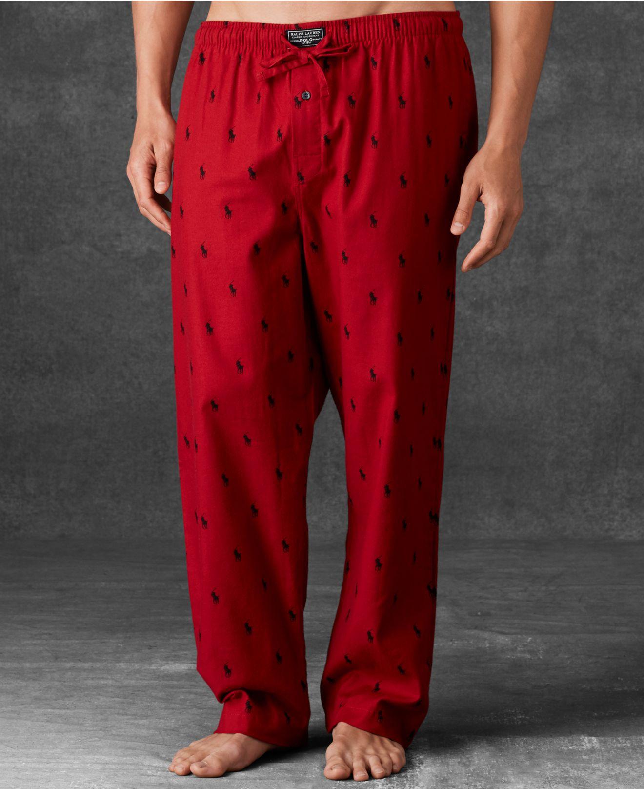 61780c039e Lyst - Polo Ralph Lauren Men S Allover Polo Player Woven Pajama ...
