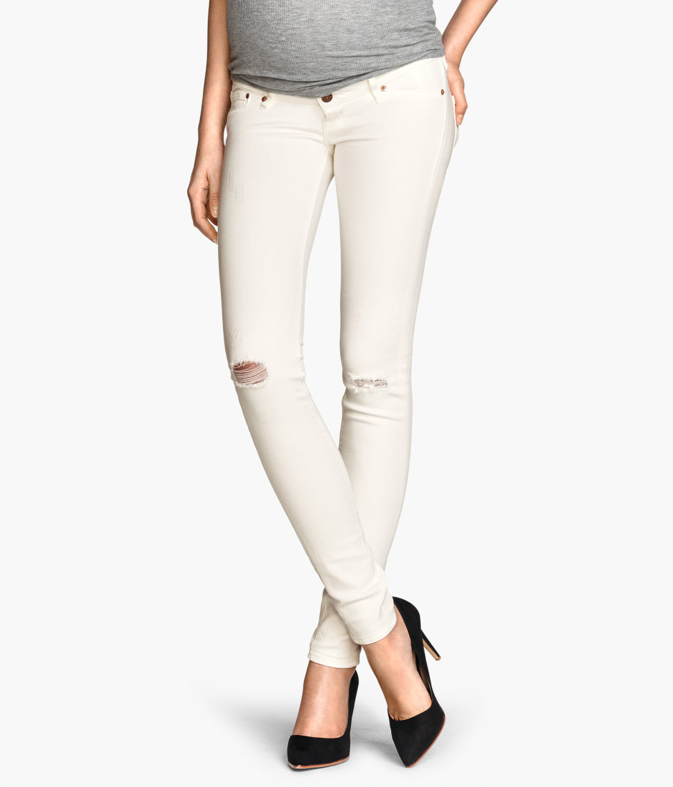 H&m Mama Skinny Jeans in White   Lyst