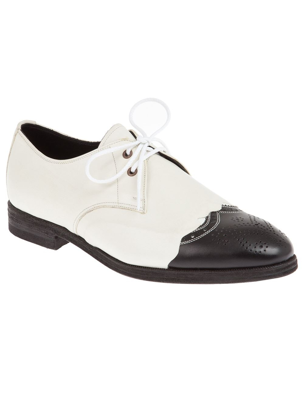 miharayasuhiro two tone leather shoe in white for lyst