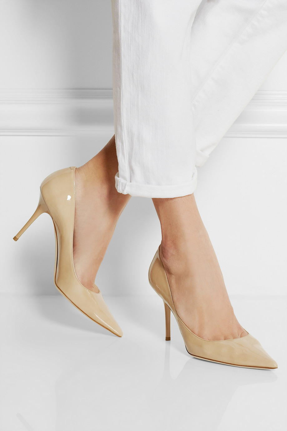 c392e5543095 ... clearance lyst jimmy choo agnes patent leather pumps in natural 9a61a  29f5a
