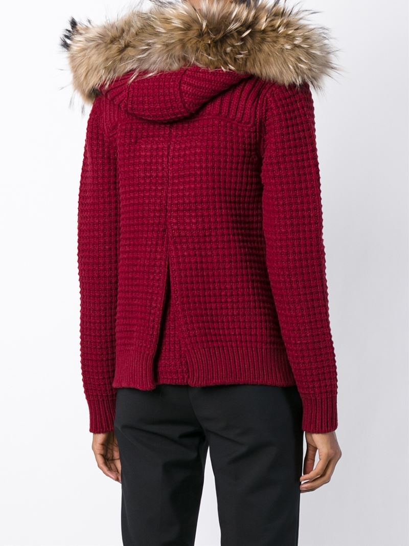 Bark Hooded Cardigan in Red | Lyst