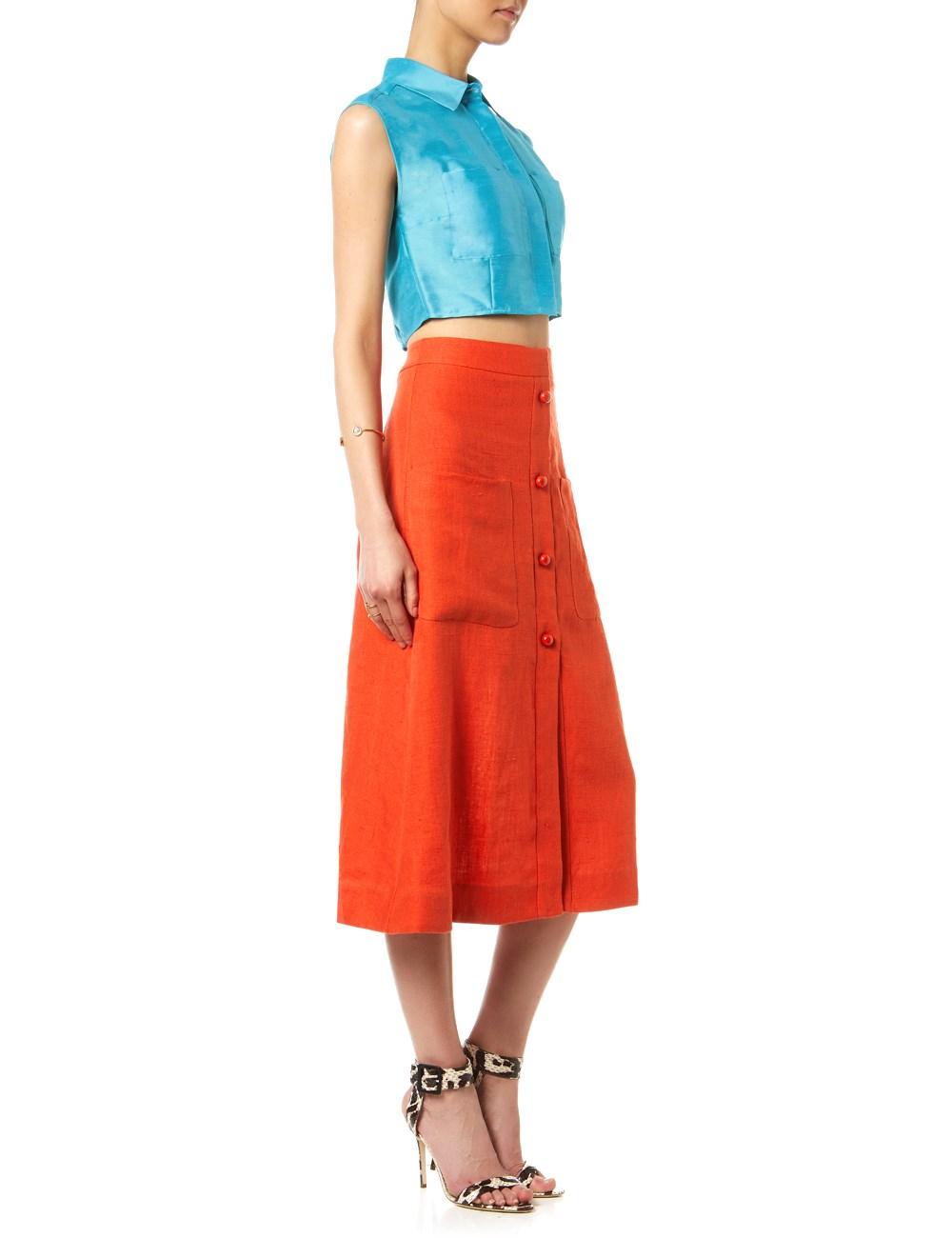 Isa arfen Campari Red Linen A-Line Skirt in Red | Lyst