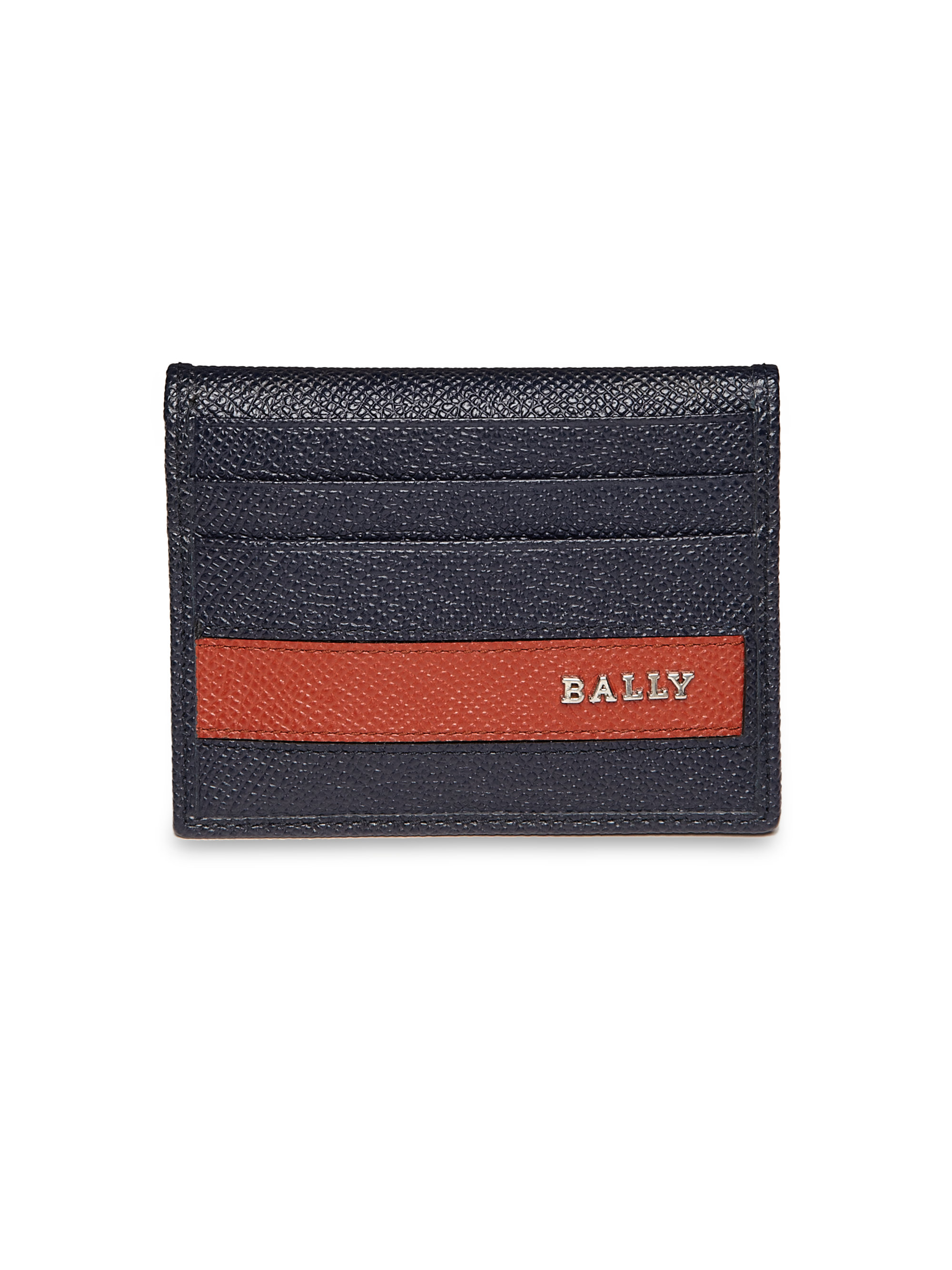 Bally Striped Leather Business Card Holder in Blue for Men