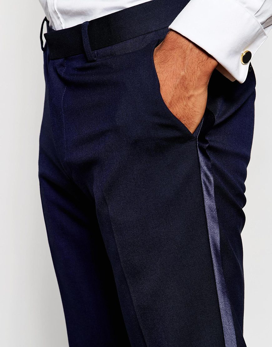 Lyst Asos Skinny Tuxedo Suit Trousers With Satin Stripe