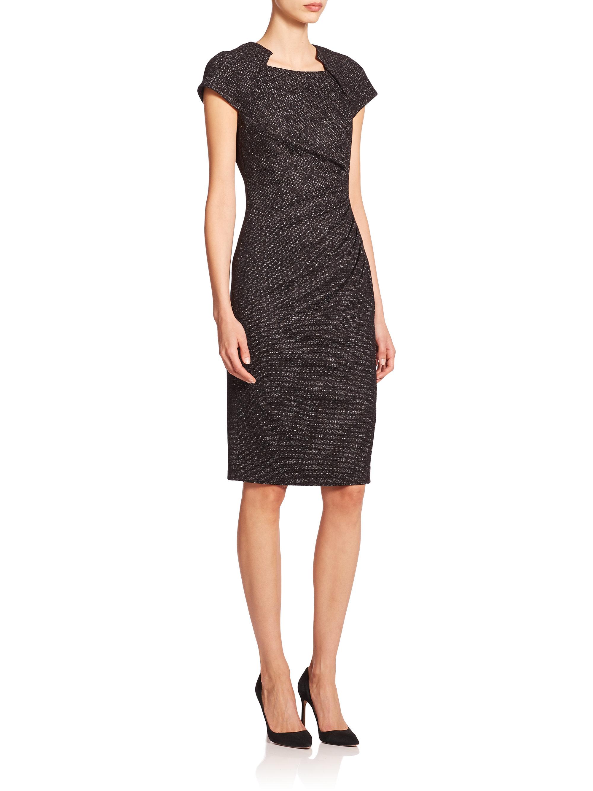 Lyst L K Bennett Jacquard Ruched Detail Dress In Black