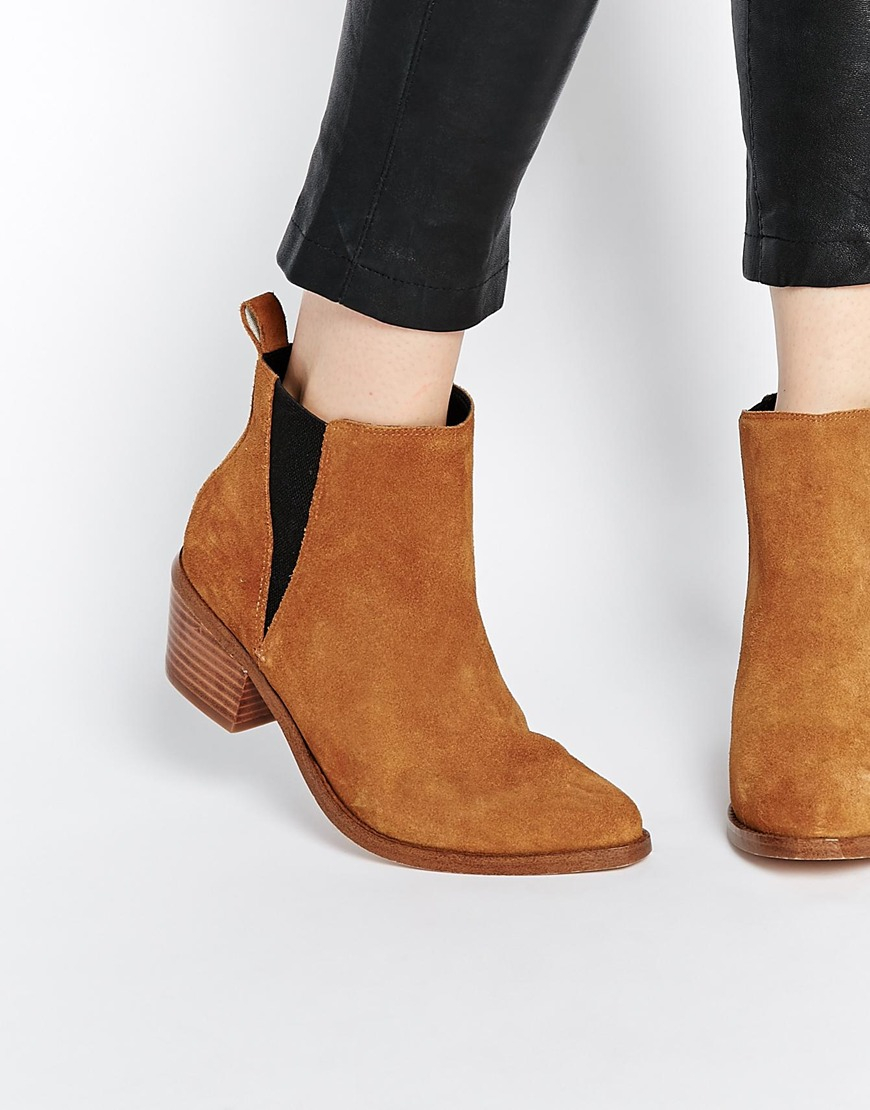 Lyst - ASOS Risked It Pointed Suede Western Chelsea Boots in Brown 31f3c53c50