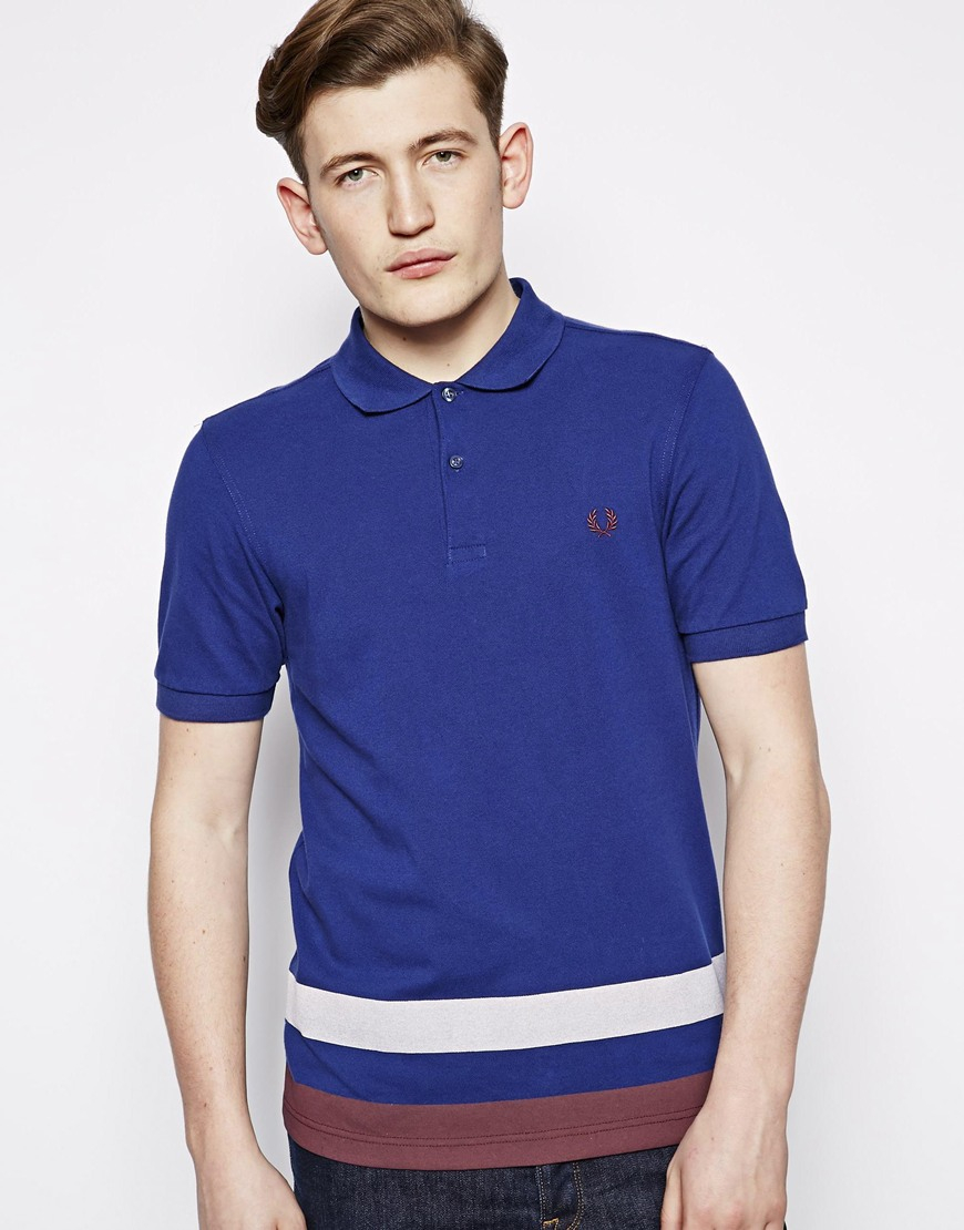 Fred Perry Polo With Printed Hem in Blue for Men | Lyst