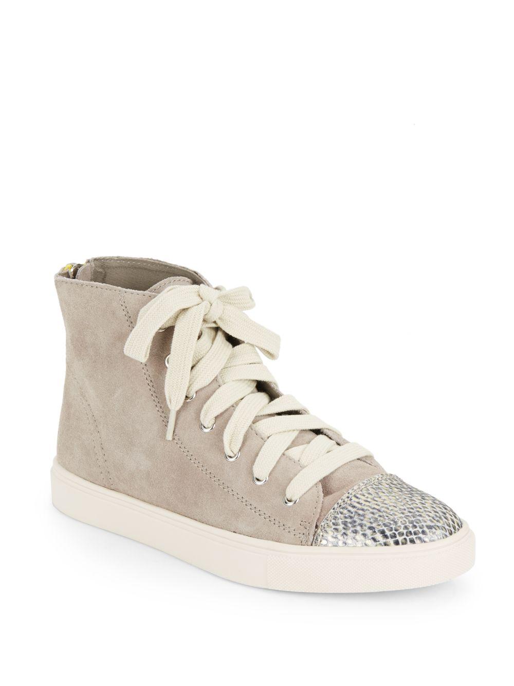3de874b1a9a Lyst - Steve Madden Eastman Leather   Snake-Print Cap-Toe Sneakers ...